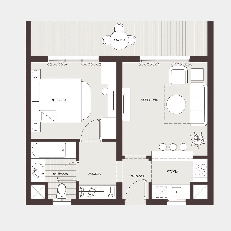 Plan Dressing En U one bedroom chalet | la hacienda ras sudr